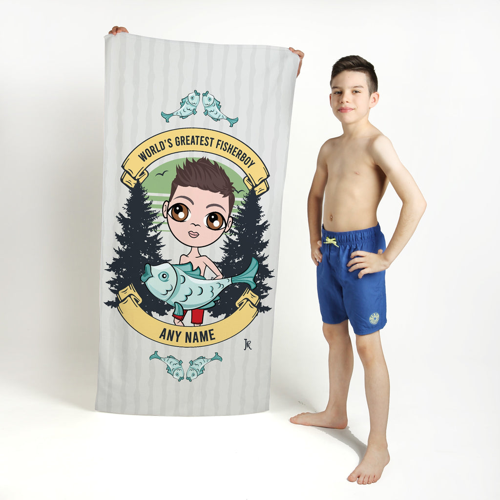 Jnr Boys Greatest Fisherboy Beach Towel - Image 1