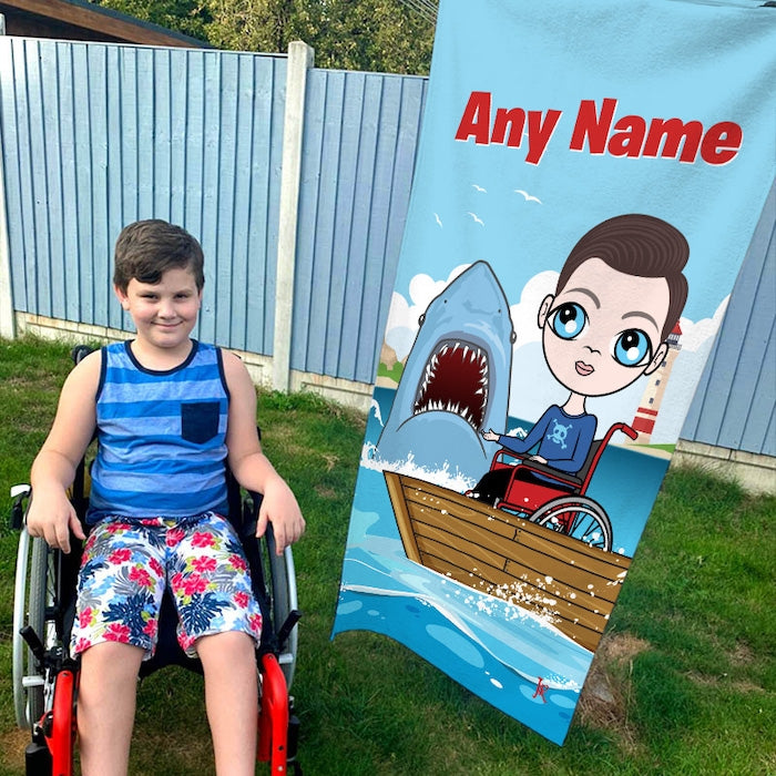 Jnr Boys Shark Attack Wheelchair Beach Towel - Image 2