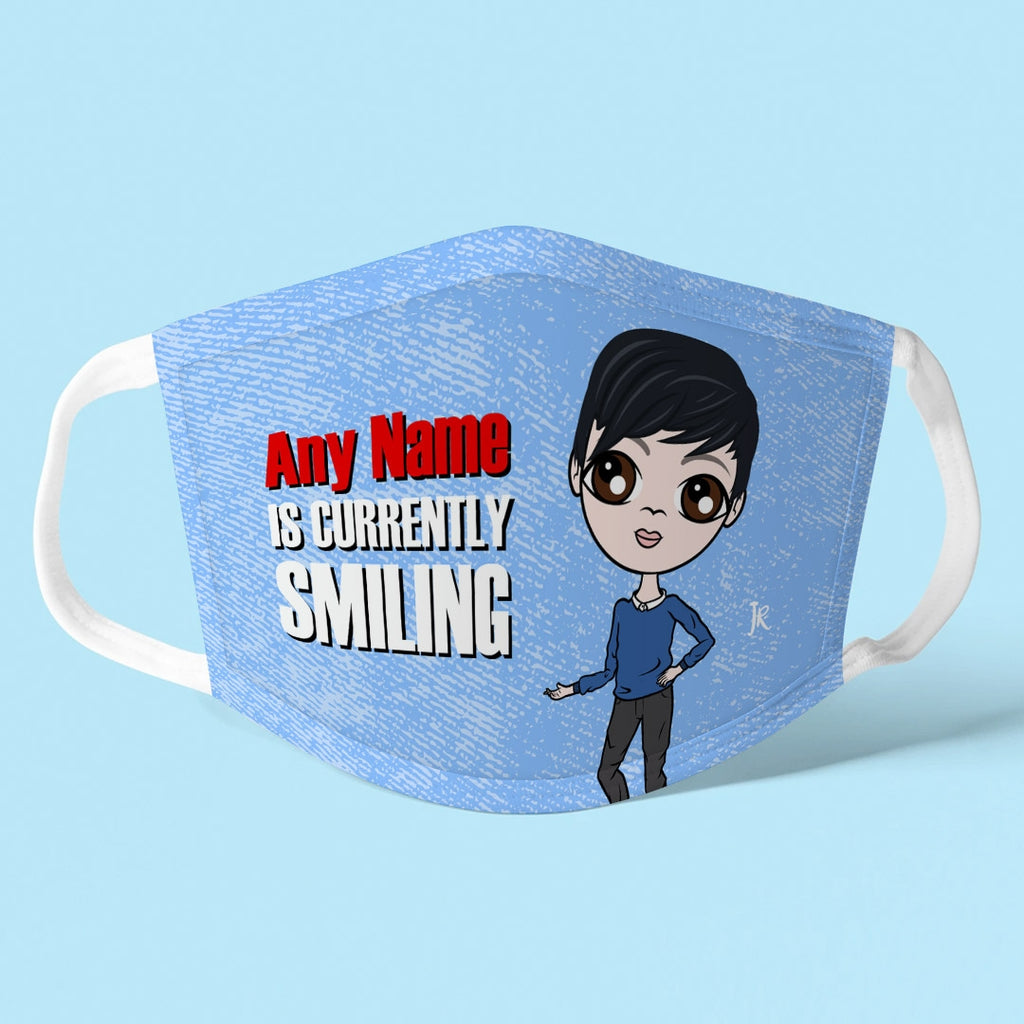 Jnr Boys Personalised Smile Reusable Face Covering - Image 1