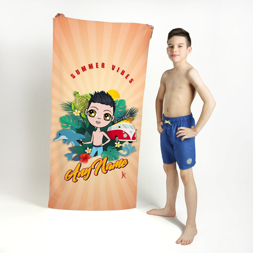 Jnr Boys Summer Vibes Beach Towel - Image 1