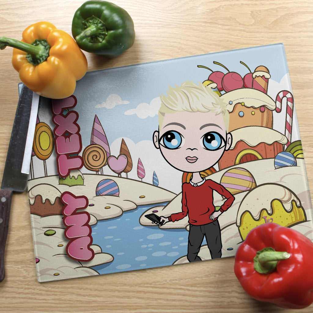 Jnr Boys Landscape Glass Chopping Board - Candy Land - Image 2