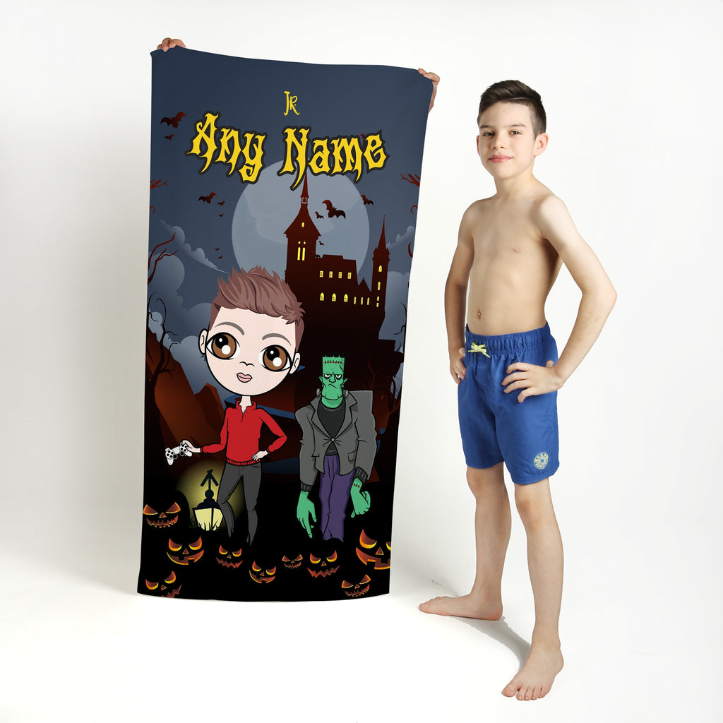 Jnr Boys Frankenstein's Castle Beach Towel - Image 1