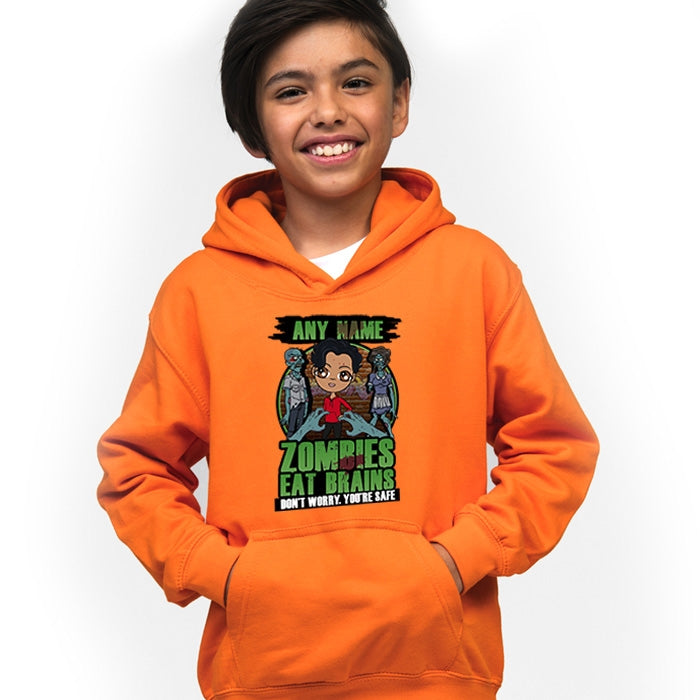 Jnr Boys Zombies Eat Brains Hoodie - Image 1
