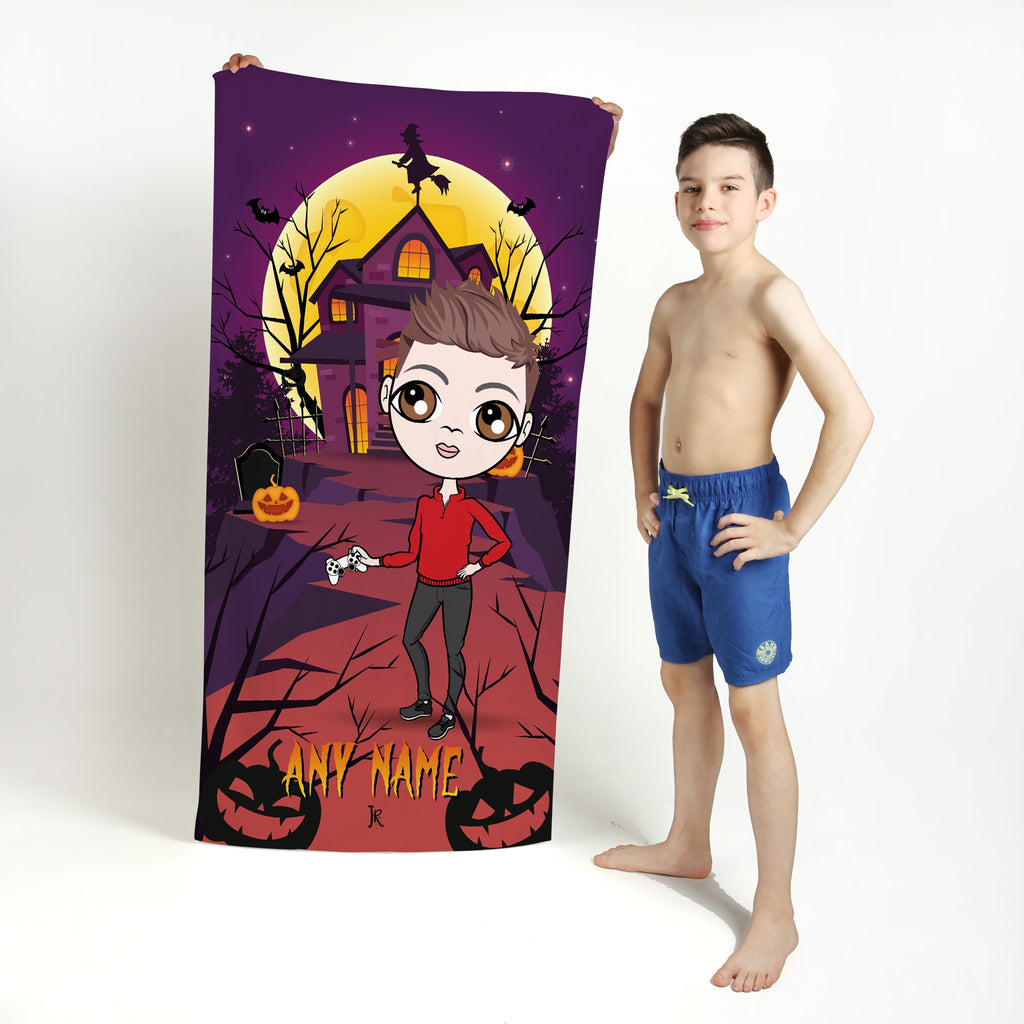 Jnr Boys Haunted House Beach Towel - Image 1