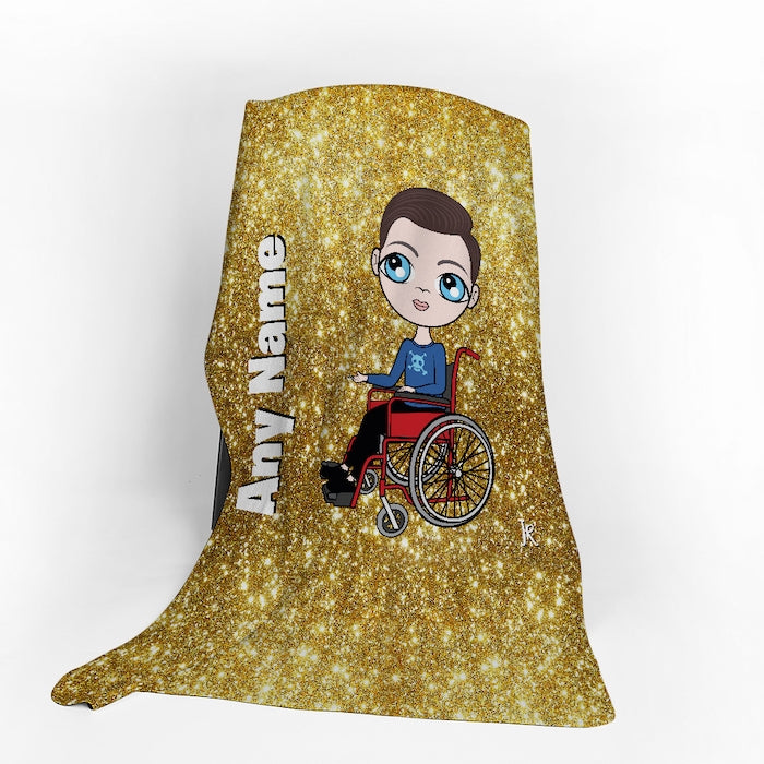 Jnr Boys Wheelchair Portrait Gold Glitter Effect Fleece Blanket - Image 1