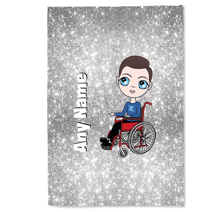 Jnr Boys Wheelchair Portrait Silver Glitter Effect Fleece Blanket - Image 3