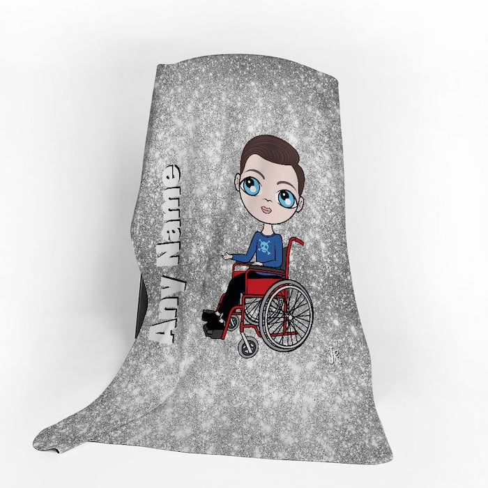Jnr Boys Wheelchair Portrait Silver Glitter Effect Fleece Blanket - Image 1