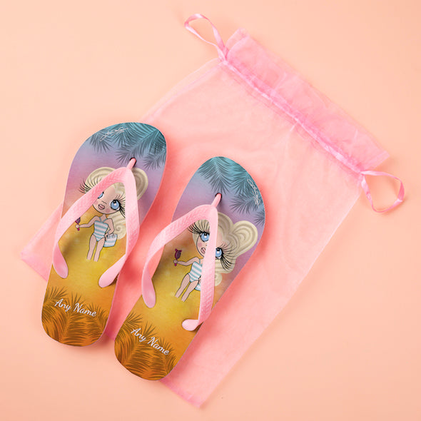 ClaireaBella Girls Tropical Sunset Flip flops - Image 3