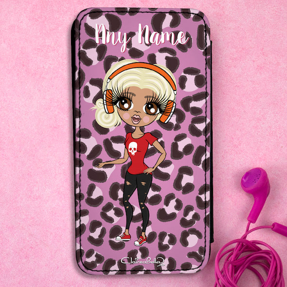 ClaireaBella Personalised Lilac Leopard Flip Phone Case - Image 1