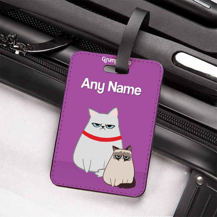 Grumpy Cat Purple Luggage Tag