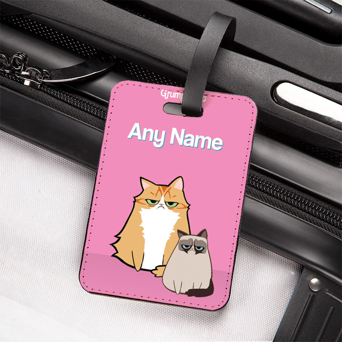 Grumpy Cat Pink Luggage Tag