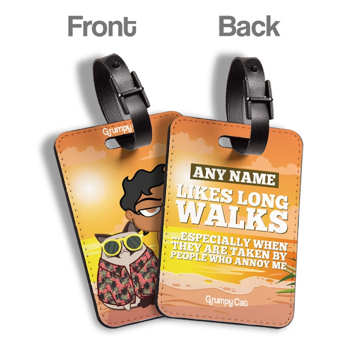 Grumpy Cat Long Walks Luggage Tag - Image 2