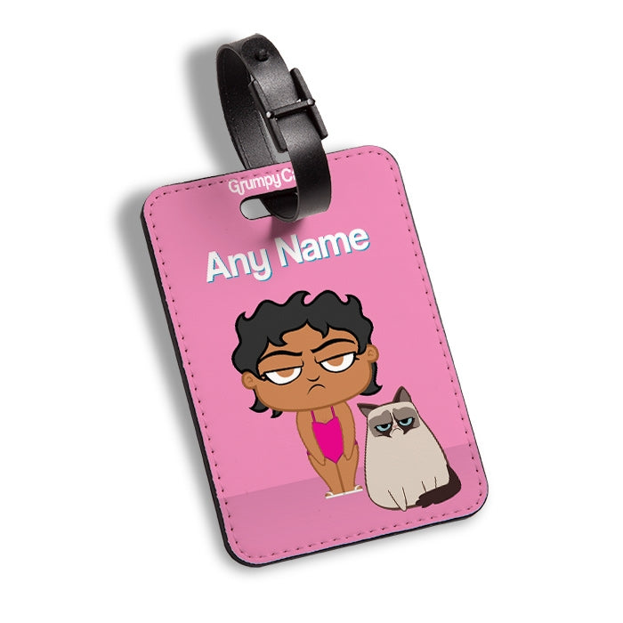 Grumpy Cat Pink Luggage Tag - Image 1