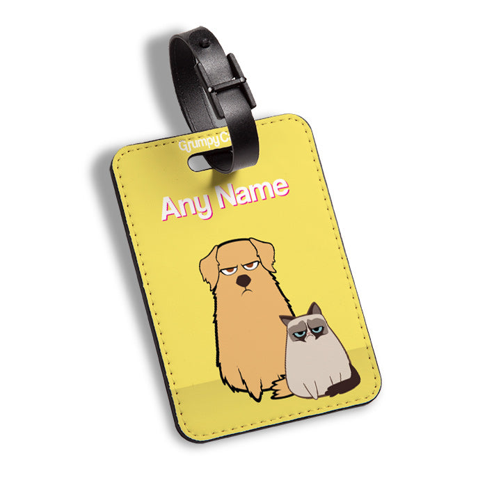 Grumpy Cat Yellow Luggage Tag