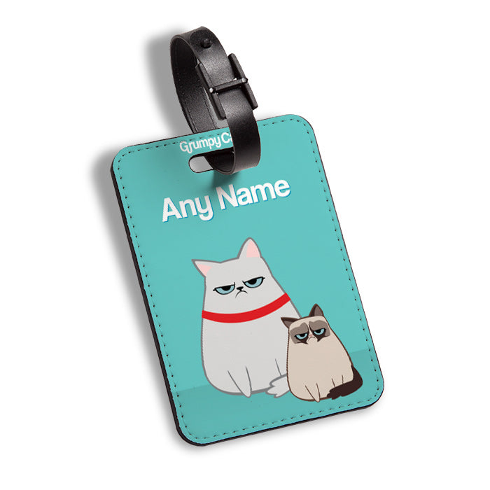 Grumpy Cat Turquoise Luggage Tag