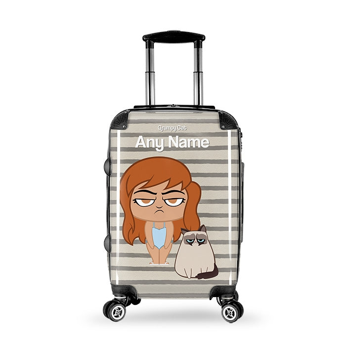 Grumpy Cat Stripe Suitcase - Image 1