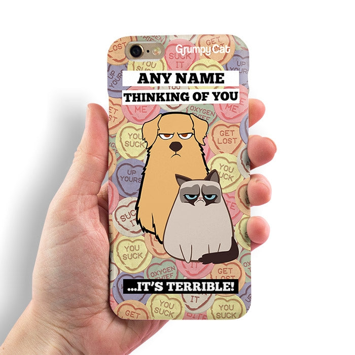 Grumpy Cat Lovehearts Phone Case - Image 3