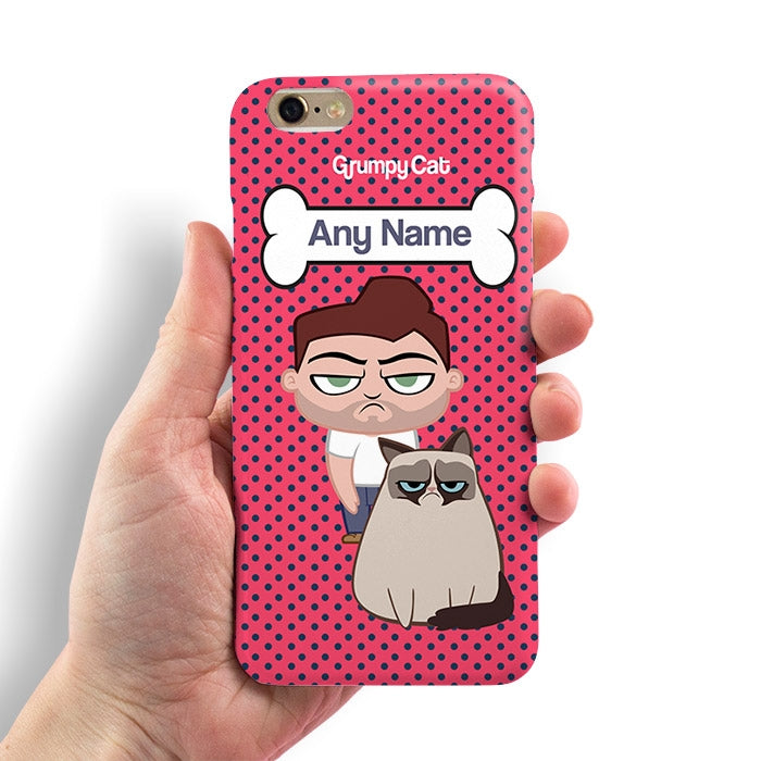 Grumpy Cat Polka Dot Phone Case - Image 1