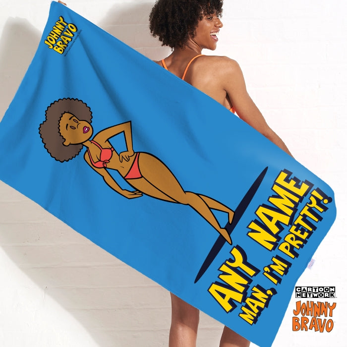 Johnny Bravo Ladies Bold Blue Beach Towel - Image 1