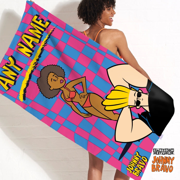 Johnny Bravo Ladies Disco Squares Beach Towel - Image 1