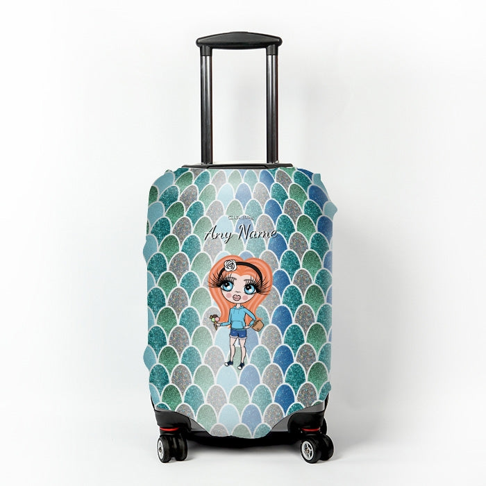 ClaireaBella Girls Mermaid Glitter Effect Suitcase Cover - Image 1