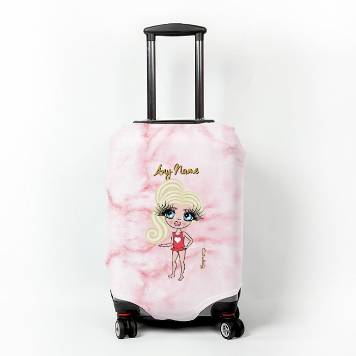 ClaireaBella Girls Pink Marble Effect Suitcase Cover - Image 1
