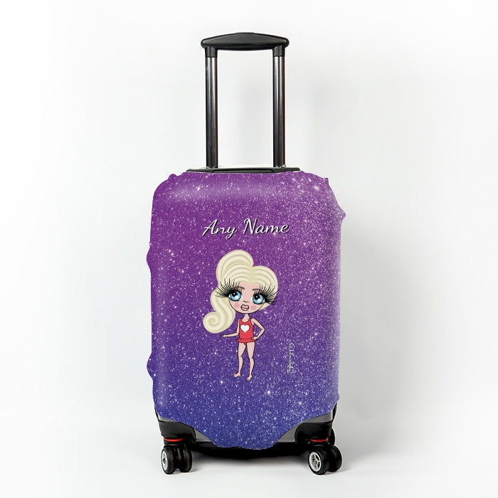 ClaireaBella Girls Ombre Glitter Effect Suitcase Cover - Image 1