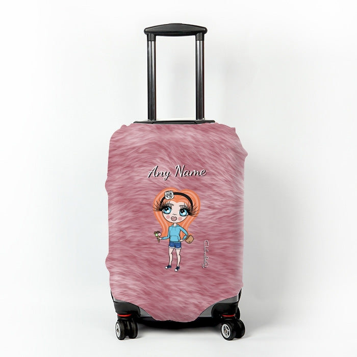 ClaireaBella Girls Fur Effect Suitcase Cover - Image 1