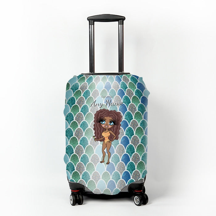 ClaireaBella Mermaid Glitter Effect Suitcase Cover - Image 1