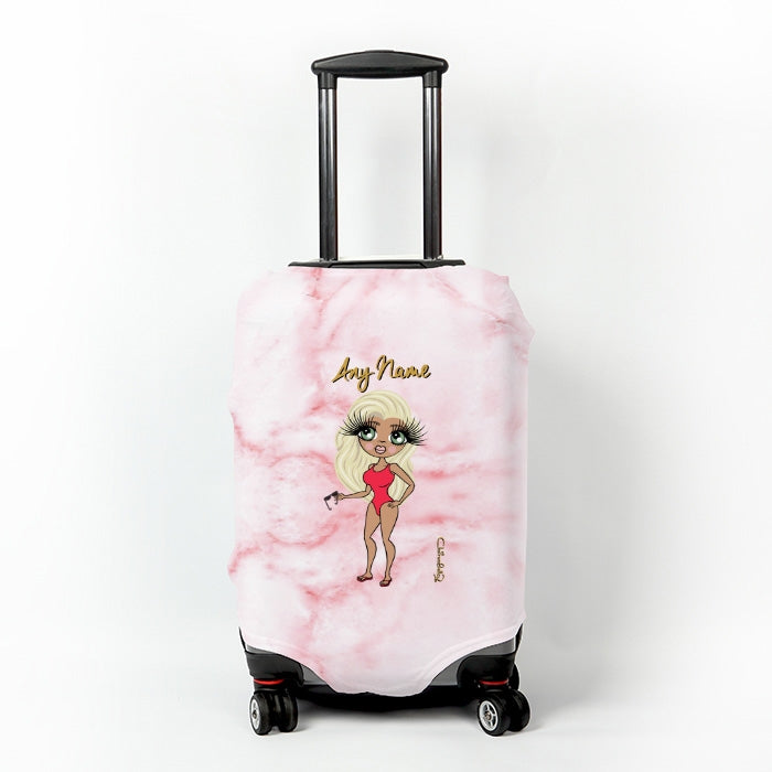 ClaireaBella Pink Marble Effect Suitcase Cover - Image 1