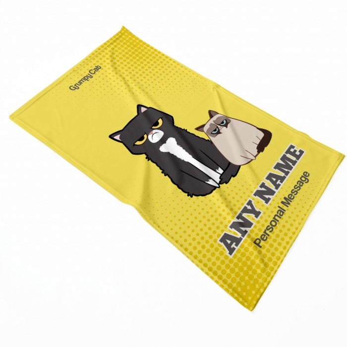 Grumpy Cat Yellow Pet Blanket - Image 3