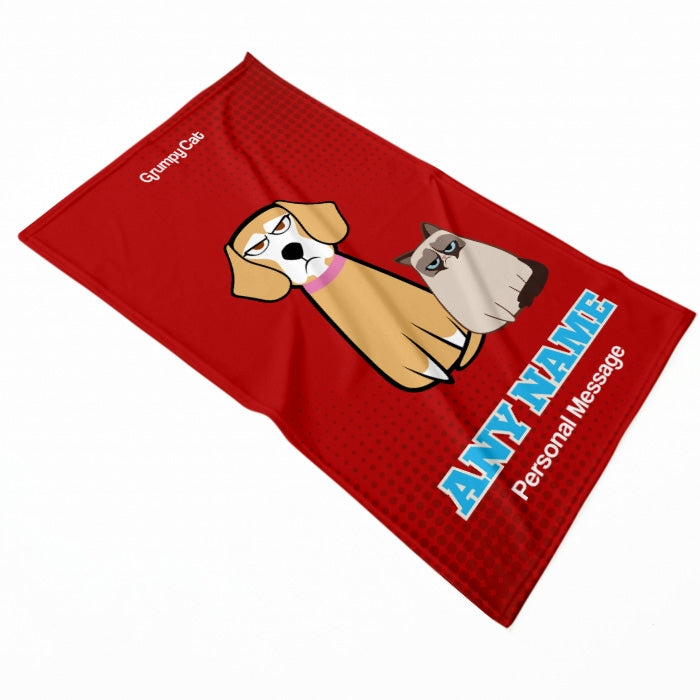 Grumpy Cat Red Pet Blanket - Image 1