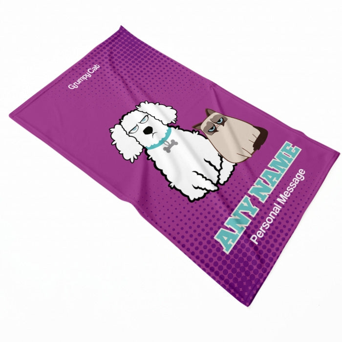 Grumpy Cat Purple Pet Blanket - Image 2