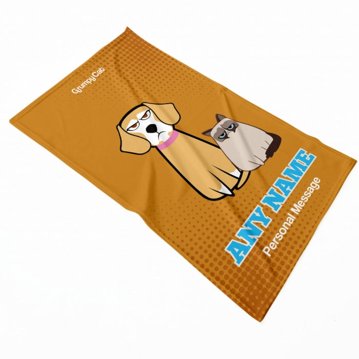 Grumpy Cat Orange Pet Blanket - Image 2