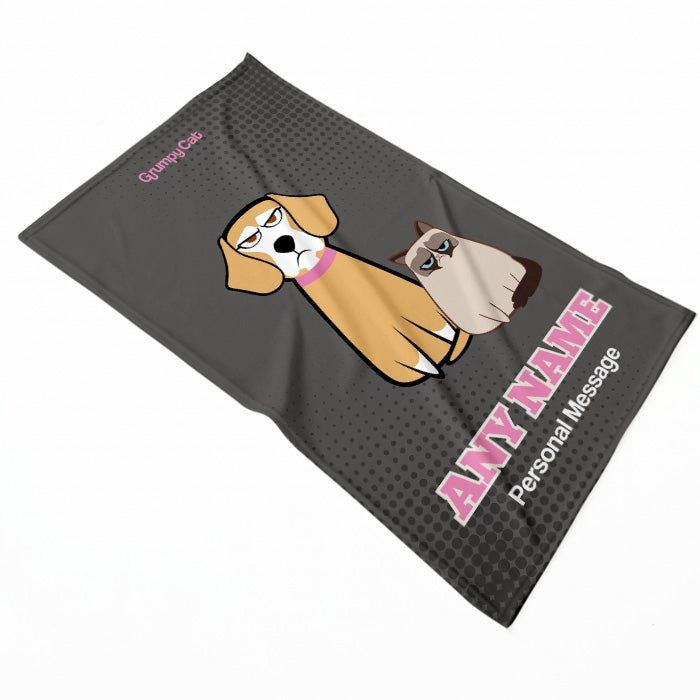 Grumpy Cat Grey Pet Blanket - Image 2