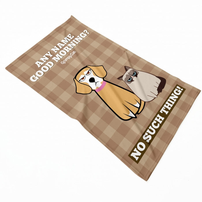 Grumpy Cat Good Morning Pet Blanket - Image 2