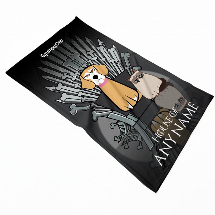 Grumpy Cat Throne Of Bones Pet Blanket - Image 1