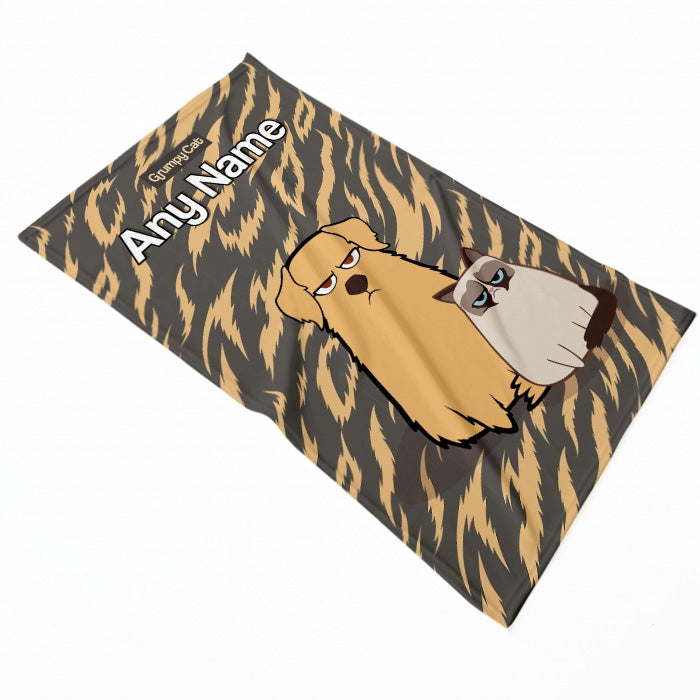Grumpy Cat Animal Print Pet Blanket - Image 2