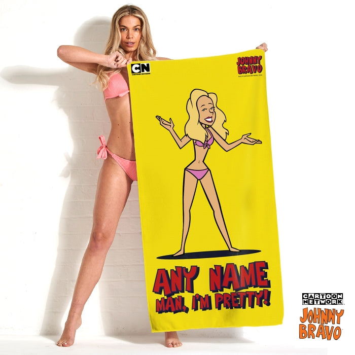 Johnny Bravo Ladies Bold Yellow Beach Towel - Image 1