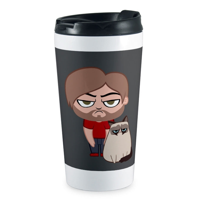 Grumpy Cat Charcoal Travel Mug - Image 1