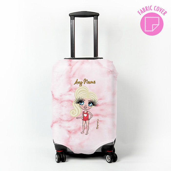 ClaireaBella Girls Pink Marble Effect Suitcase Cover