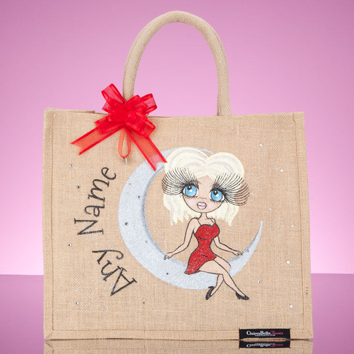 ClaireaBella Large Love You To The Moon Jute Bag - Image 1
