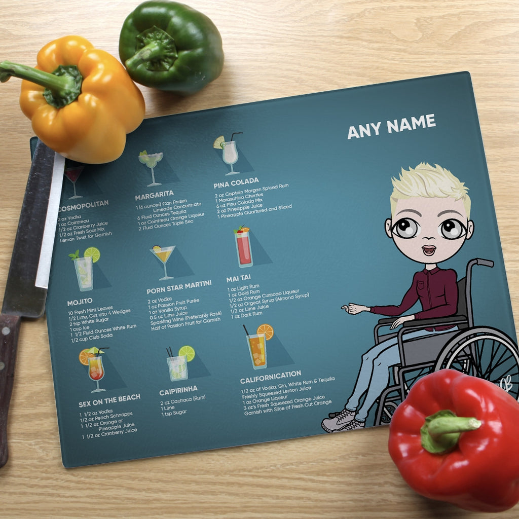 MrCB Wheelchair Glass Chopping Board - Cocktail Recipes - Image 1