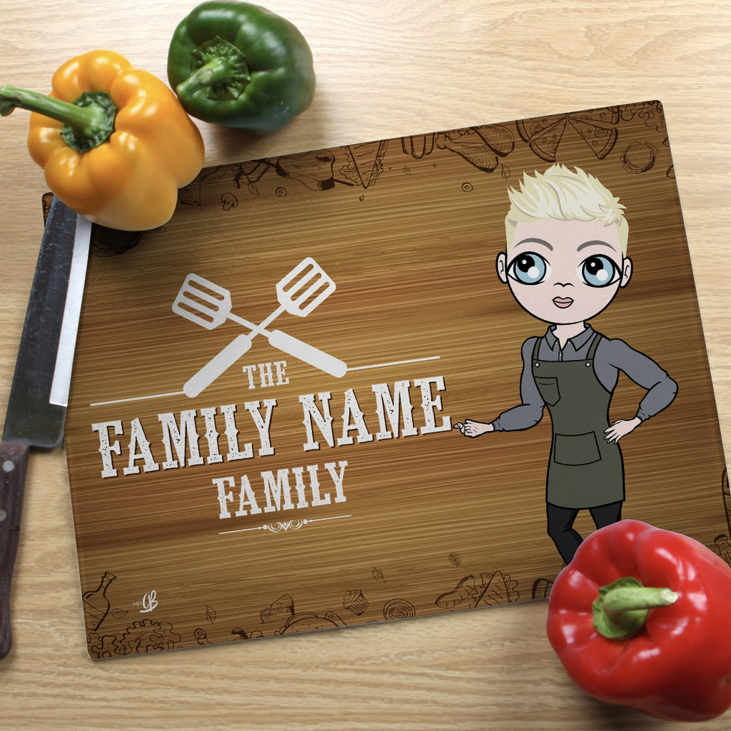 MrCB Glass Chopping Board - Family Name - Image 1