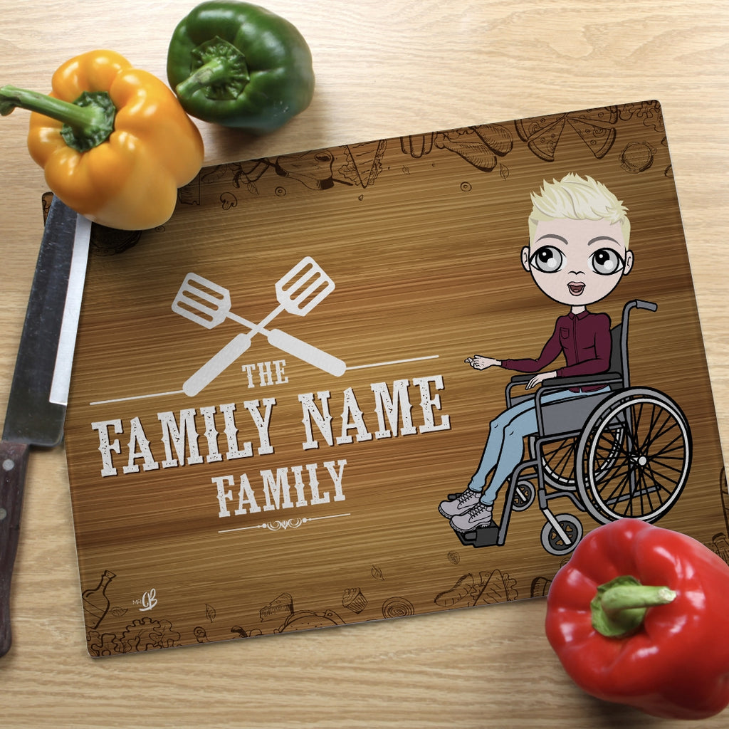 MrCB Wheelchair Glass Chopping Board - Family Name - Image 1