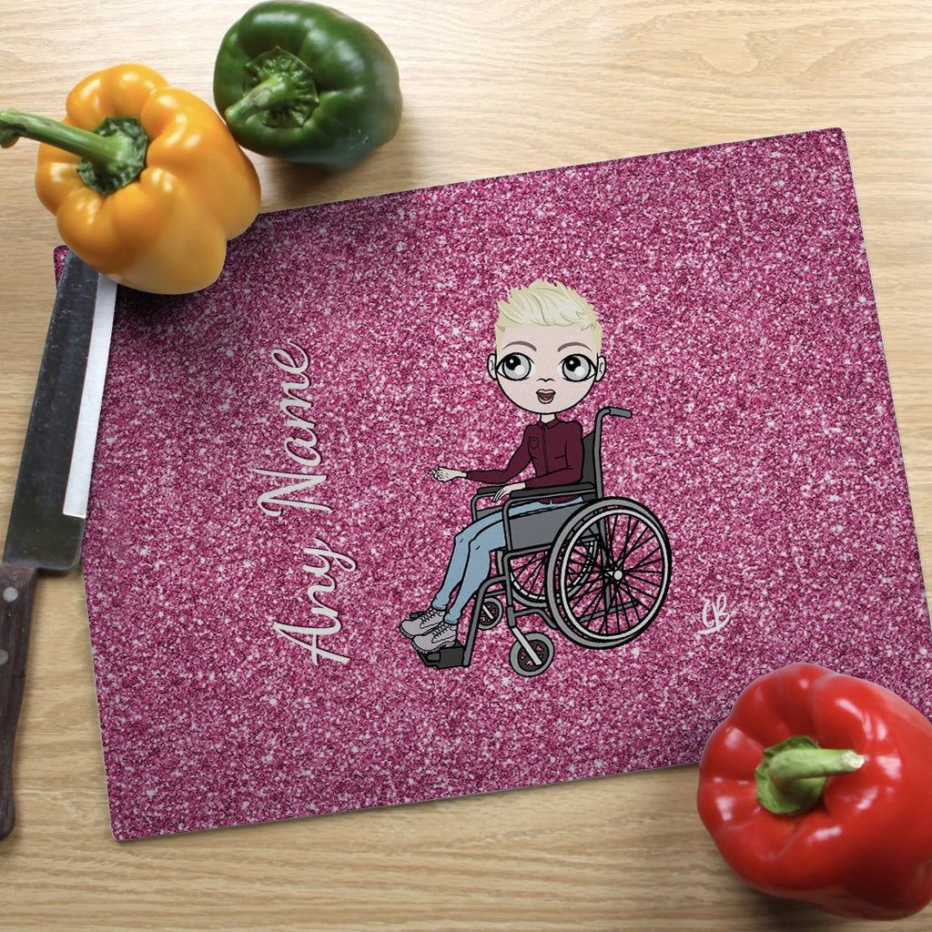 MrCB Wheelchair Glass Chopping Board - Pink Glitter Effect - Image 1