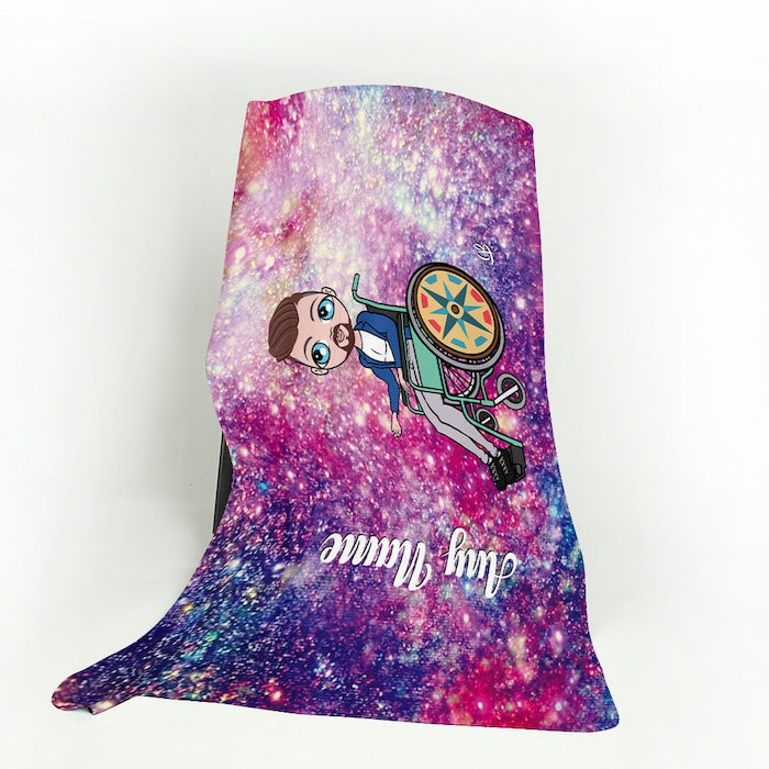 MrCB Galaxy Glitter Wheelchair Fleece Blanket - Image 1