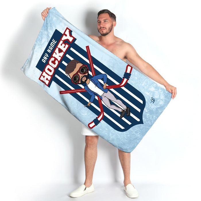 MrCB Ice Hockey Emblem Beach Towel - Image 1