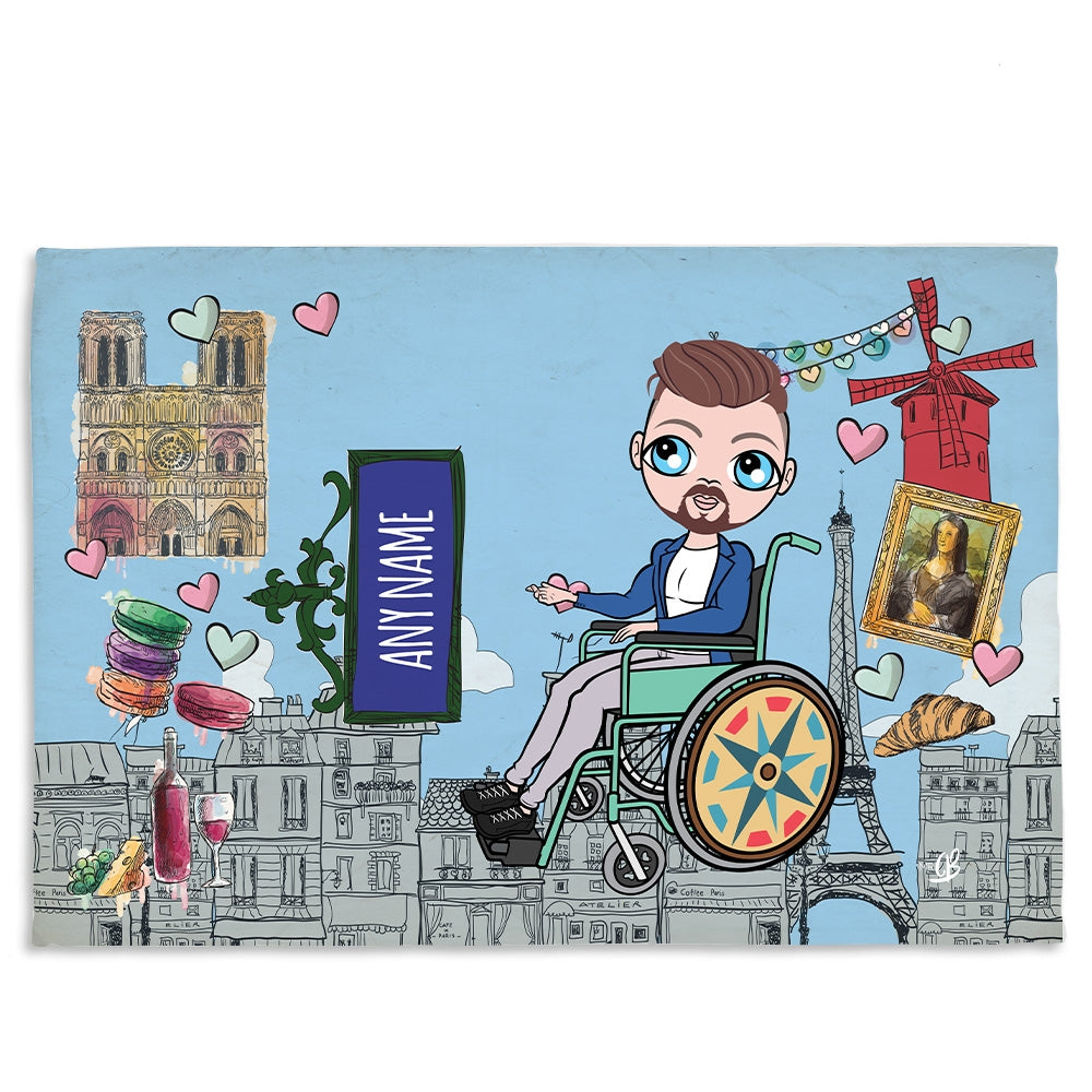 MrCB Love Paris Wheelchair Fleece Blanket - Image 1