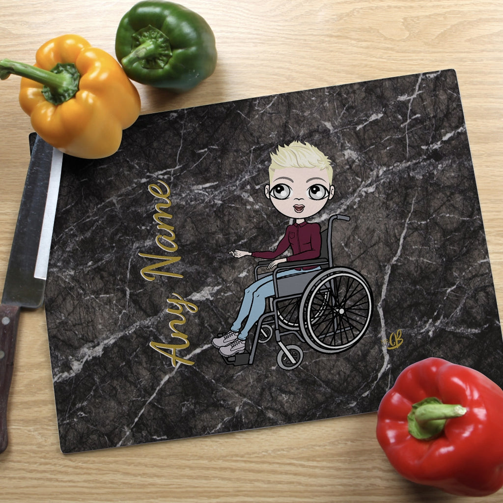 MrCB Wheelchair Glass Chopping Board - Marble Effect - Image 3